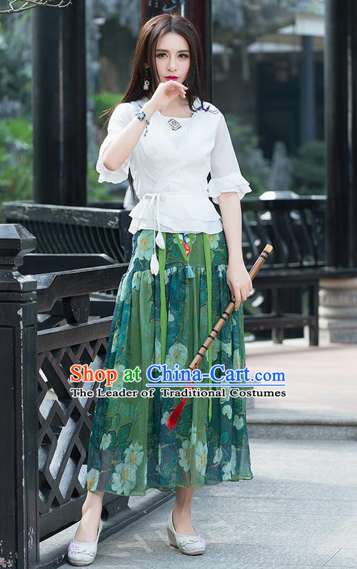 Traditional Chinese National Costume, Elegant Hanfu Mandarin Sleeve Slant Opening White T-Shirt, China Tang Suit Republic of China Chirpaur Blouse Cheong-sam Upper Outer Garment Qipao Shirts Clothing for Women