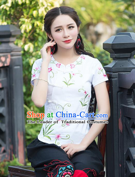 Traditional Chinese National Costume, Elegant Hanfu Embroidery Flowers Slant Opening White T-Shirt, China Tang Suit Republic of China Plated Buttons Chirpaur Blouse Cheong-sam Upper Outer Garment Qipao Shirts Clothing for Women