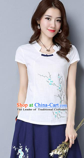 Traditional Chinese National Costume, Elegant Hanfu Embroidered Wintersweet Slant Opening White T-Shirt, China Tang Suit Republic of China Plated Buttons Chirpaur Blouse Cheong-sam Upper Outer Garment Qipao Shirts Clothing for Women