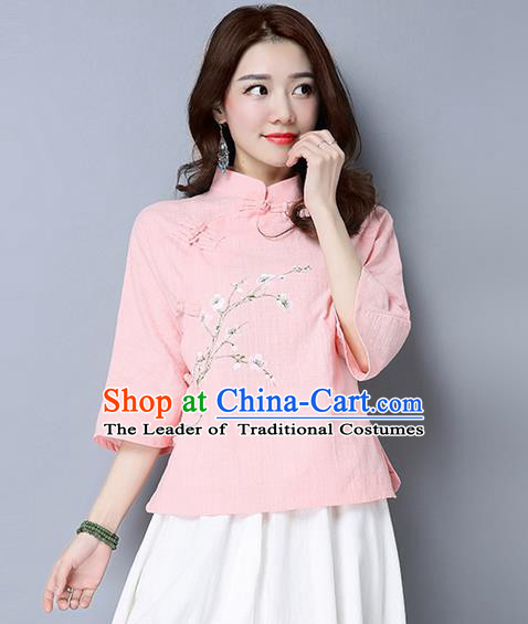 Traditional Chinese National Costume, Elegant Hanfu Painting Peach blossom Flowers Slant Opening Pink T-Shirt, China Tang Suit Republic of China Plated Buttons Chirpaur Stand Collar Blouse Cheong-sam Upper Outer Garment Qipao Shirts Clothing for Women