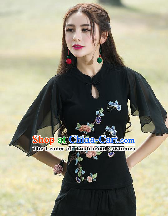 Traditional Chinese National Costume, Elegant Hanfu Embroidery Flowers Mandarin Sleeve Black T-Shirt, China Tang Suit Republic of China Plated Buttons Chirpaur Blouse Cheong-sam Upper Outer Garment Qipao Shirts Clothing for Women