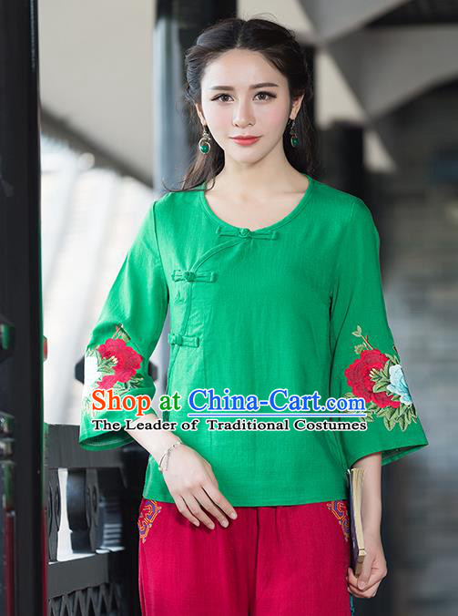 Traditional Chinese National Costume, Elegant Hanfu Embroidery Flowers Slant Opening Mandarin Sleeve Green T-Shirt, China Tang Suit Republic of China Plated Buttons Chirpaur Blouse Cheong-sam Upper Outer Garment Qipao Shirts Clothing for Women