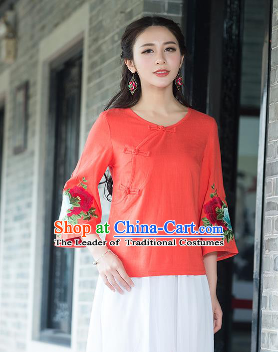 Traditional Chinese National Costume, Elegant Hanfu Embroidery Flowers Slant Opening Mandarin Sleeve Orange T-Shirt, China Tang Suit Republic of China Plated Buttons Chirpaur Blouse Cheong-sam Upper Outer Garment Qipao Shirts Clothing for Women
