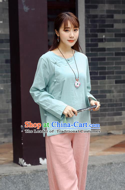 Traditional Chinese National Costume, Elegant Hanfu Linen Slant Opening Blue Shirt, China Tang Suit Republic of China Plated Buttons Chirpaur Blouse Cheong-sam Upper Outer Garment Qipao Shirts Clothing for Women