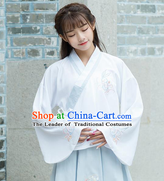 Traditional Ancient Chinese Costume, Elegant Hanfu Clothing Embroidered Slant Opening White Blouse, China Ming Dynasty Princess Elegant Blouse Shirts for Women