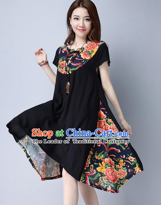 Traditional Ancient Chinese National Costume, Elegant Hanfu Mandarin Qipao Linen Peony Flowers Black Dress, China Tang Suit Chirpaur Republic of China Cheongsam Upper Outer Garment Elegant Dress Clothing for Women