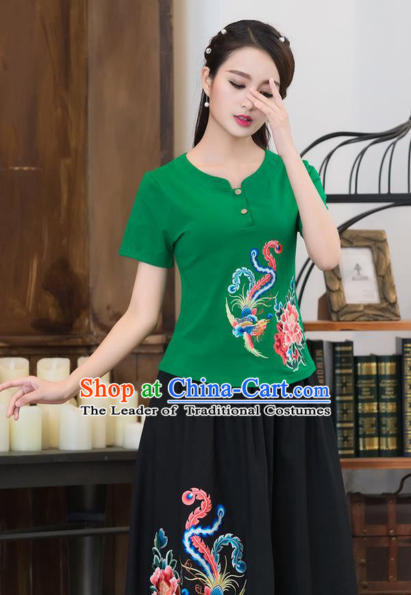 Traditional Chinese National Costume, Elegant Hanfu Embroidery Phoenix Flowers Green T-Shirt, China Tang Suit Republic of China Chirpaur Blouse Cheong-sam Upper Outer Garment Qipao Shirts Clothing for Women