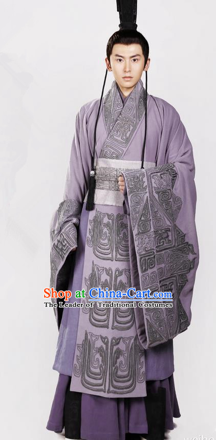 Traditional Chinese Ancient Nobility Childe Costumes, Chinese Ancient Teleplay Above The Clouds Role Swordsmen Robe, China Han Dynasty Prince Embroidery Hanfu Clothing for Men
