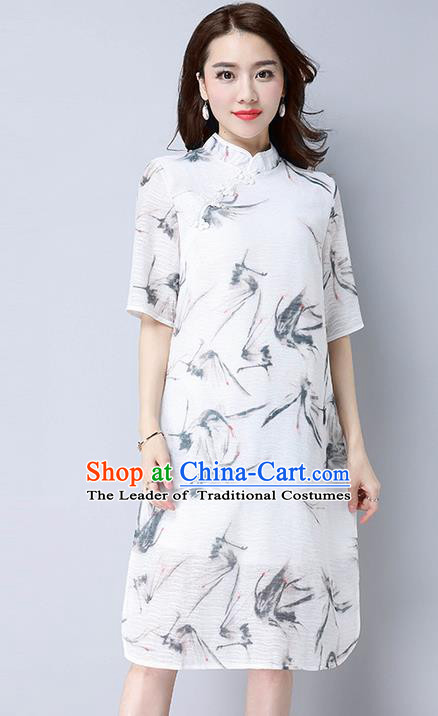 Traditional Ancient Chinese National Costume, Elegant Hanfu Mandarin Qipao Linen Ink Painting White Dress, China Tang Suit Stand Collar Chirpaur Republic of China Cheongsam Upper Outer Garment Elegant Dress Clothing for Women