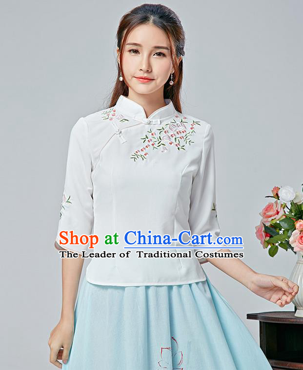 Traditional Chinese National Costume, Elegant Hanfu Embroidery Flowers Slant Opening White Blouses, China Tang Suit Republic of China Plated Buttons Chirpaur Blouse Cheong-sam Upper Outer Garment Qipao Shirts Clothing for Women