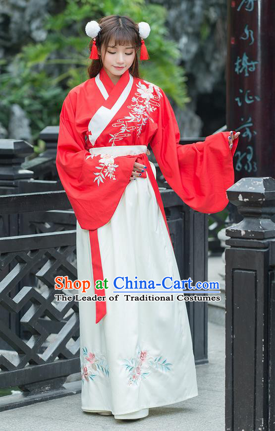 Traditional Ancient Chinese Costume, Elegant Hanfu Clothing Embroidered Slant Opening Blouse and Dress, China Ming Dynasty Princess Elegant Red Blouse and Ru Skirt Complete Set for Women
