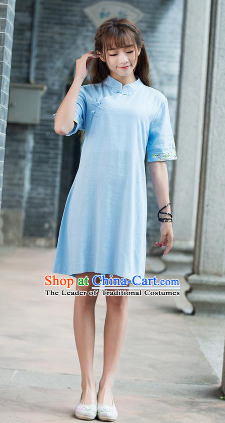 Traditional Ancient Chinese National Costume, Elegant Hanfu Mandarin Qipao Embroidery Sleeve Linen Blue Dress, China Tang Suit Chirpaur Republic of China Cheongsam Upper Outer Garment Elegant Dress Clothing for Women