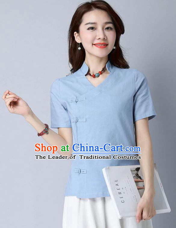 Traditional Chinese National Costume, Elegant Hanfu Stand Collar Slant Opening Blue T-Shirt, China Tang Suit Republic of China Plated Buttons Chirpaur Blouse Cheong-sam Upper Outer Garment Qipao Shirts Clothing for Women