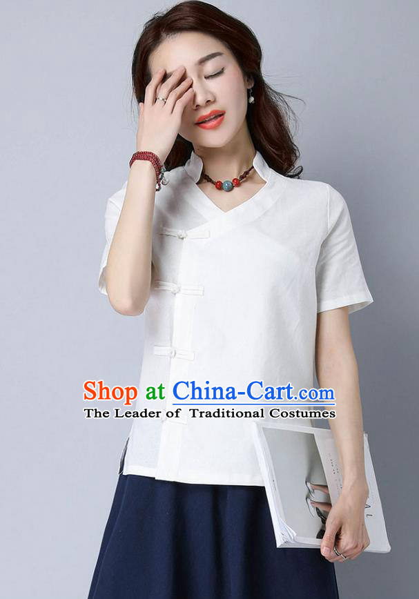 Traditional Chinese National Costume, Elegant Hanfu Stand Collar Slant Opening White T-Shirt, China Tang Suit Republic of China Plated Buttons Chirpaur Blouse Cheong-sam Upper Outer Garment Qipao Shirts Clothing for Women