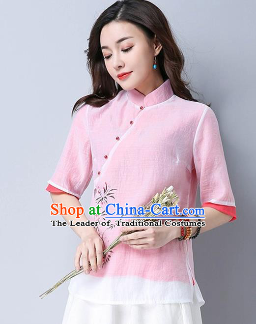 Traditional Chinese National Costume, Elegant Hanfu Hand Painting Flowers Slant Opening Pink Blouse, China Tang Suit Republic of China Plated Buttons Chirpaur Blouse Cheong-sam Upper Outer Garment Qipao Shirts Clothing for Women