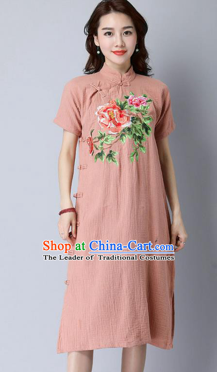 Traditional Ancient Chinese National Costume, Elegant Hanfu Stand Collar Mandarin Qipao Embroidery Slant Opening Light Tan Dress, China Tang Suit Cheongsam Upper Outer Garment Elegant Dress Clothing for Women