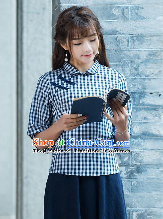 Traditional Chinese National Costume, Elegant Hanfu Slant Opening Shirt, China Tang Suit Republic of China Schoolgirl Plated Buttons Chirpaur Blouse Cheong-sam Upper Outer Garment Qipao Shirts Clothing for Women