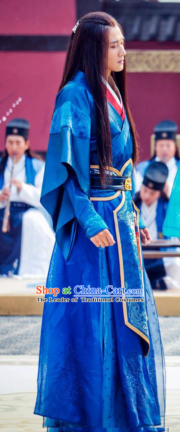 Traditional Ancient Chinese Elegant Swordsman General Costume, Chinese Nobility Childe Dress, Cosplay Chinese Television Drama Alegend Of Pringess Lanling Chinese Northern Dynasty Prince Hanfu Clothing for Men