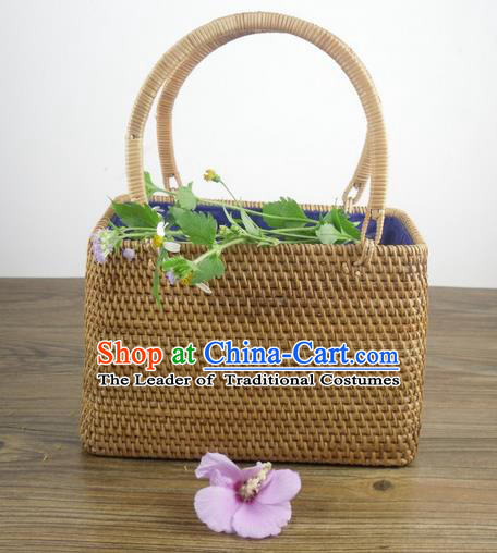 Top Asian Vietnamese Traditional Rattan Plaited Articles Handbag, Vietnam Rattan Plaited Bag for Women