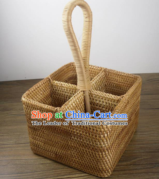 Top Asian Vietnamese Traditional Rattan Plaited Articles Wine Storage Box, Vietnam Handicraft Portable Basket