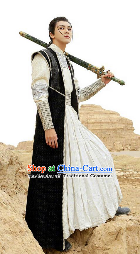 Chinese Ancient Tang Dynasty Swordsman Costume and Headpiece Complete Set, Fighter of the Destiny Traditional Chinese Ancient Nobility Childe Prince Clothing for Men
