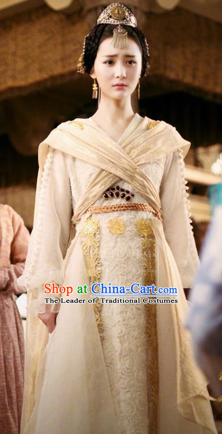 Traditional Chinese Ancient Tang Dynasty Princess Costumes and Handmade Headpiece Complete Set, China The Glory of Tang Dynasty Ancient Peri Princess Dress Clothing for Women