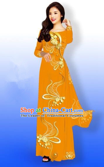 Traditional Top Grade Asian Vietnamese Costumes Dance Dress and Loose Pants, Vietnam National Women Ao Dai Dress Printing Long Orange Cheongsam Clothing Complete Set