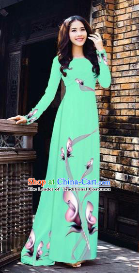 Traditional Top Grade Asian Vietnamese Costumes Classical Printing Flowers Pattern Full Dress, Vietnam National Ao Dai Dress Green Etiquette Qipao for Women