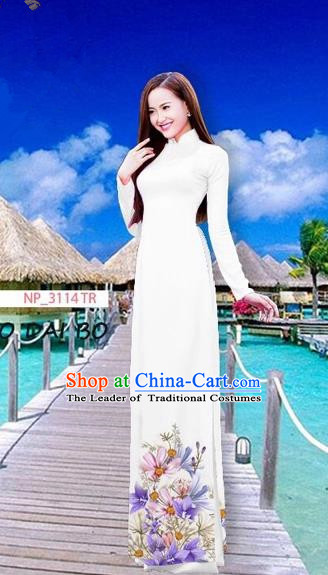 Traditional Top Grade Asian Vietnamese Costumes Full Dress, Vietnam National Ao Dai Dress Printing Flowers White Stand Collar Qipao for Women
