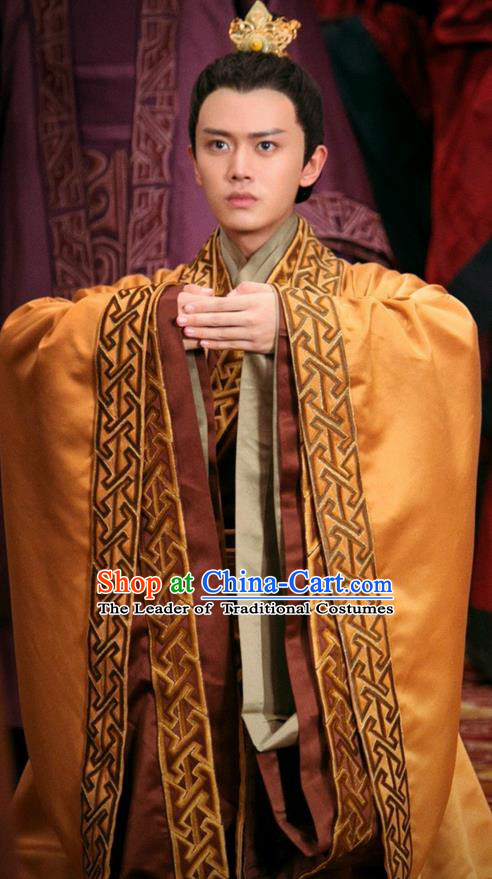Traditional Chinese Ancient Prince Costumes and Handmade Headwear Complete Set, The Glory of Tang Dynasty Nobility Infante Clothing for Men