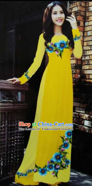 Traditional Top Grade Asian Vietnamese Costumes Classical Printing Wedding Full Dress, Vietnam National Ao Dai Dress Yellow Bride Qipao for Women
