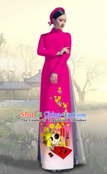 Traditional Top Grade Asian Vietnamese Costumes Classical Printing New Year Full Dress, Vietnam National Ao Dai Dress Catwalks Rosy Qipao for Women