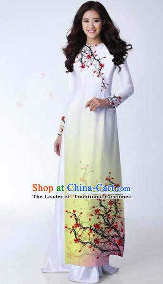 Traditional Top Grade Asian Vietnamese Costumes Classical Printing Plum Blossom Full Dress, Vietnam National Ao Dai Dress Catwalks White Qipao for Women