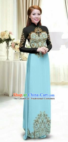 Traditional Top Grade Asian Vietnamese Costumes Classical Printing Full Dress, Vietnam National Ao Dai Dress Catwalks Debutante Lace Blue Qipao for Women