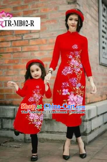 Traditional Top Grade Asian Vietnamese Costumes Classical Printing Cheongsam, Vietnam National Ao Dai Dress Parent-child Red Full Dress for Women for Kids