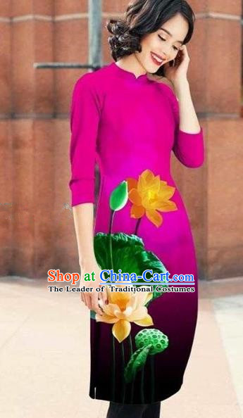 Traditional Top Grade Asian Vietnamese Costumes Classical Printing Lotus Cheongsam, Vietnam National Rosy Short Ao Dai Dress for Women