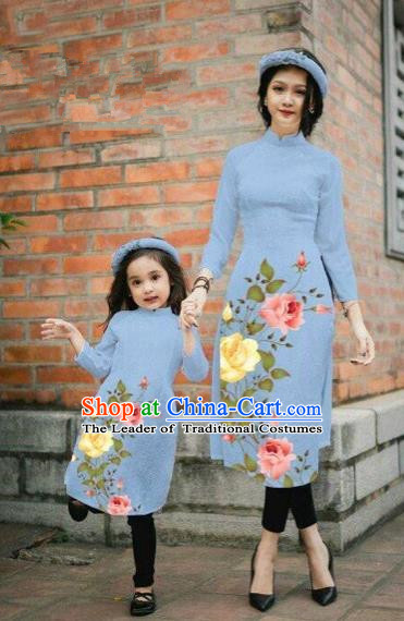 Traditional Top Grade Asian Vietnamese Costumes Classical Printing China Rose Flowers Dusty Blue Cheongsam, Vietnam National Mother-daughter Ao Dai Dress for Women for Kids