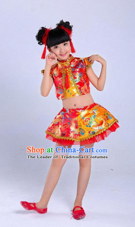 Traditional Chinese Classical Dance Yangge Fan Dance Costume, Children Folk Dance Drum Dance Uniform Yangko Red Dress for Girls Kids