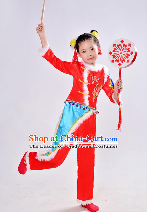 Traditional Chinese Classical Dance Yangge Fan Dance Costume, Children Folk Dance Drum Dance Uniform Yangko Red Dress Complete Set for Kids