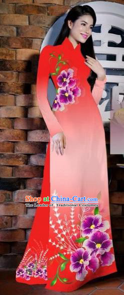 Traditional Top Grade Asian Vietnamese Costumes Classical Painting Flowers Watermelon Red Cheongsam, Vietnam National Vietnamese Young Lady Bride Wedding Ao Dai Dress