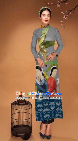 Traditional Top Grade Asian Vietnamese Costumes Classical Printing Cheongsam, Vietnam National Vietnamese Bride Grey Ao Dai Dress Tang Suit Clothing