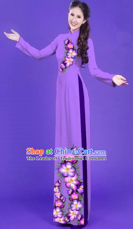 Top Grade Asian Vietnamese Costumes Classical Jing Nationality Long Printing Flowers Cheongsam, Vietnam National Vietnamese Bride Traditional Princess Purple Ao Dai Dress
