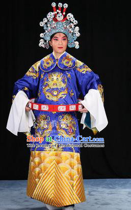 Traditional Chinese Beijing Opera Male Blue Clothing and Belts Complete Set, China Peking Opera His Royal Highness Costume Embroidered Robe Opera Costumes