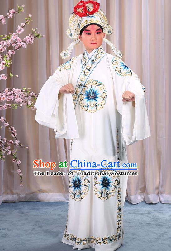 Traditional Chinese Beijing Opera Takefu White Clothing Complete Set, China Peking Opera Martial General Role Costume Embroidered Opera Costumes