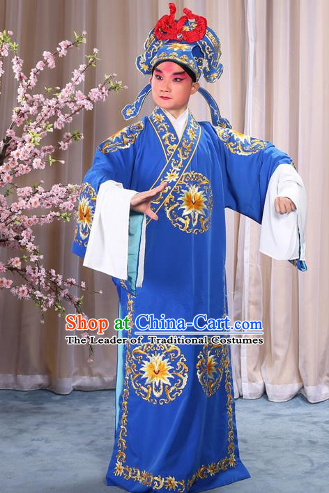 Traditional Chinese Beijing Opera Takefu Blue Clothing Complete Set, China Peking Opera Martial General Role Costume Embroidered Opera Costumes