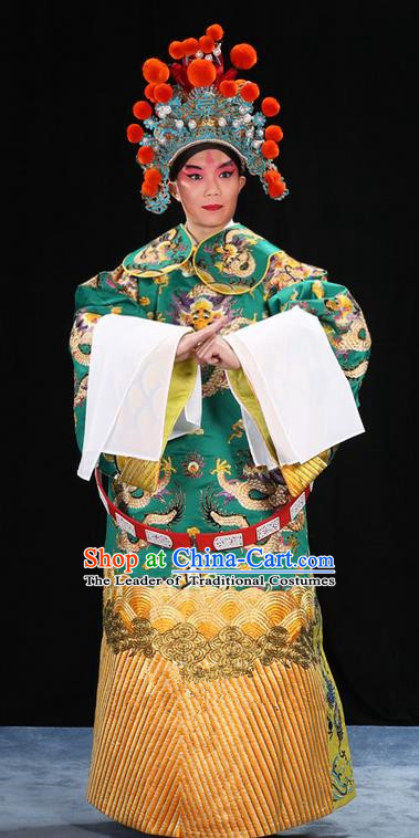 Traditional Chinese Beijing Opera Male Green Clothing and Belts Complete Set, China Peking Opera His Royal Highness Costume Embroidered Robe Dragon robe Opera Costumes