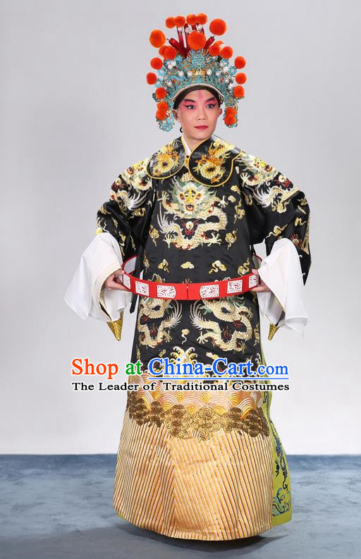 Traditional Chinese Beijing Opera Male Black Clothing and Belts Complete Set, China Peking Opera His Royal Highness Costume Embroidered Robe Dragon robe Opera Costumes