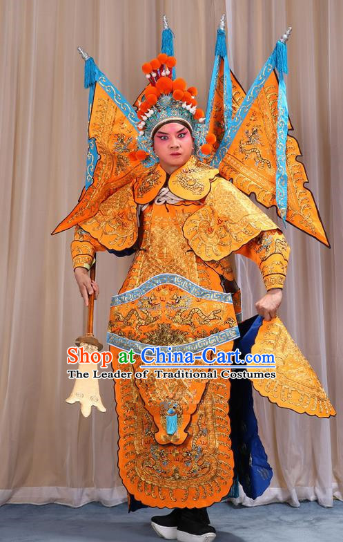 Traditional Chinese Beijing Opera Military Officer Yellow Armour Blue Clothing and Boots Complete Set, China Peking Opera Martial General Role Costume Embroidered Opera Costumes