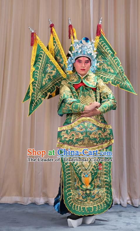 Traditional Chinese Beijing Opera Military Officer Armour Green Clothing and Boots Complete Set, China Peking Opera Martial General Role Costume Embroidered Opera Costumes