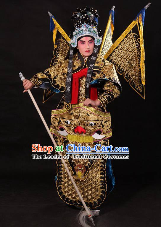Traditional Chinese Beijing Opera Military Officer Armour Black Clothing and Boots Complete Set, China Peking Opera Martial General Role Costume Embroidered Opera Tiger Head Costumes